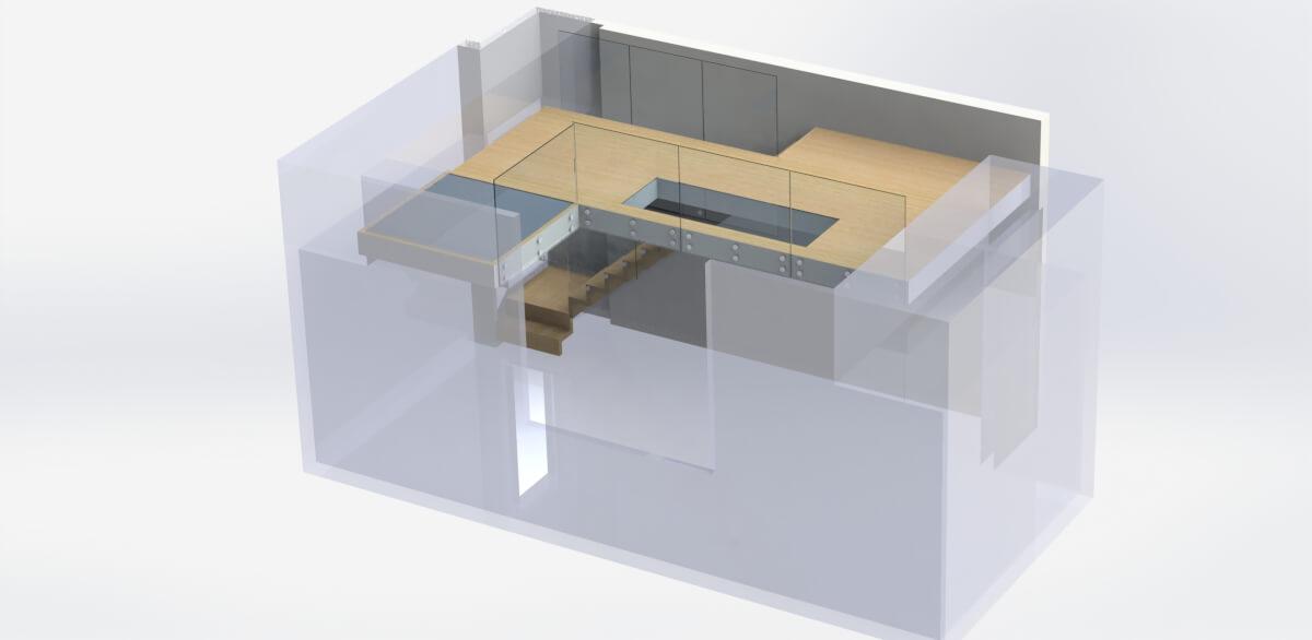 3D render Floating stairs