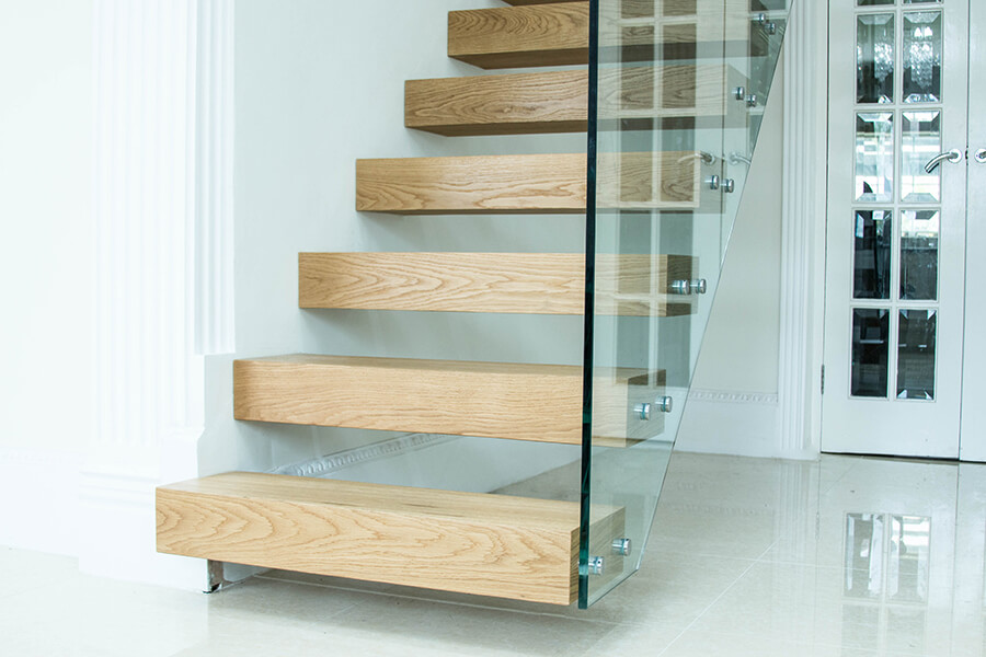 Light Wood Floating Stairs