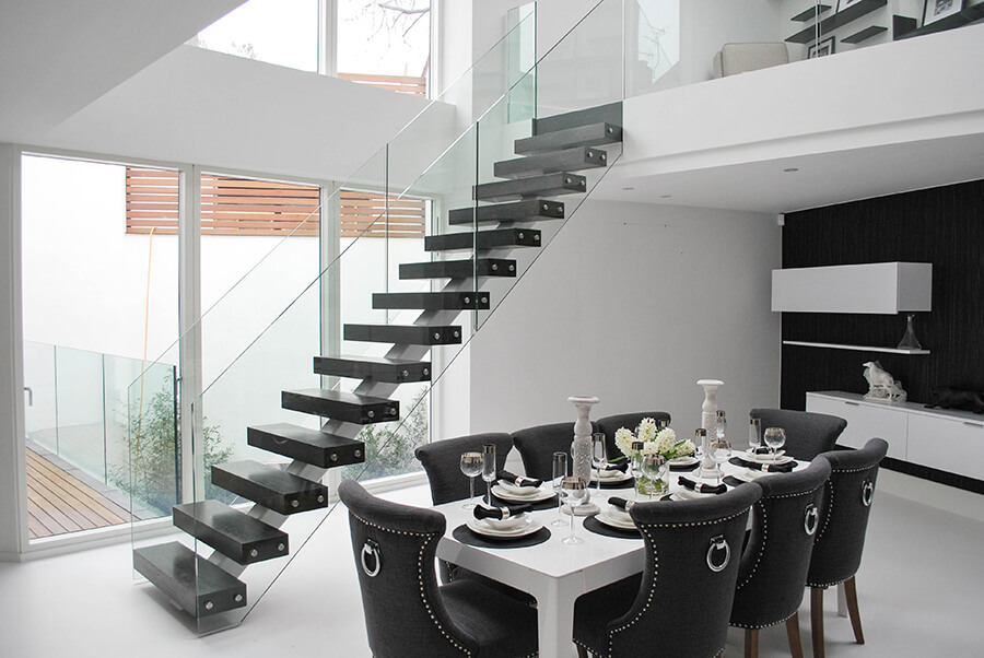 captivating stair living room dining | Middle spine staircase has never been more elegant