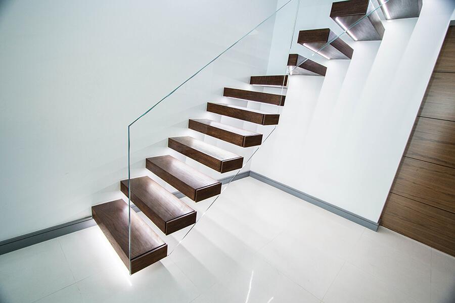 Dark Wooden Floating Staircase