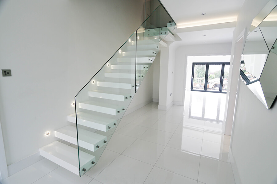 White Floating Staircases