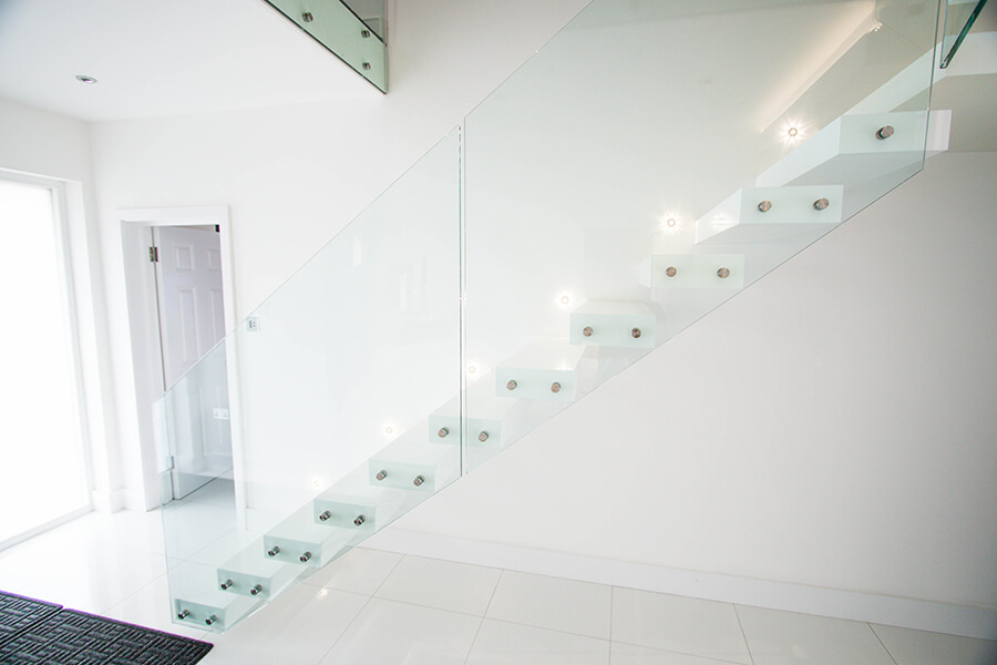 White Floating Stairs
