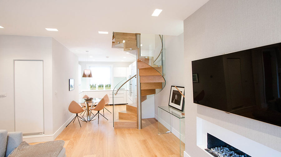 Modern helical stairs Railing London