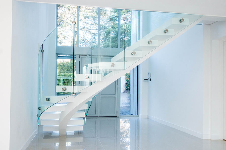 White Middle Spine Staircase