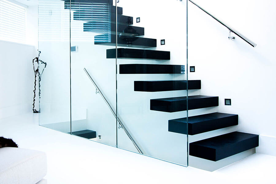 Bespoke Modern Floating Stairs with Black Treds