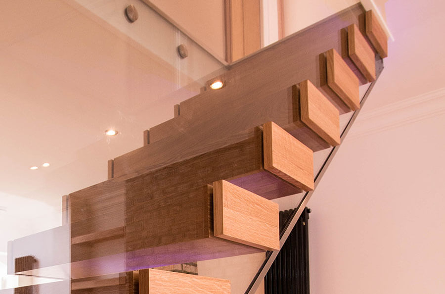 Close up modern Floating Stairs