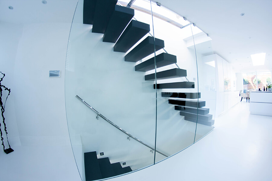 Floating stairs with framles balustrade