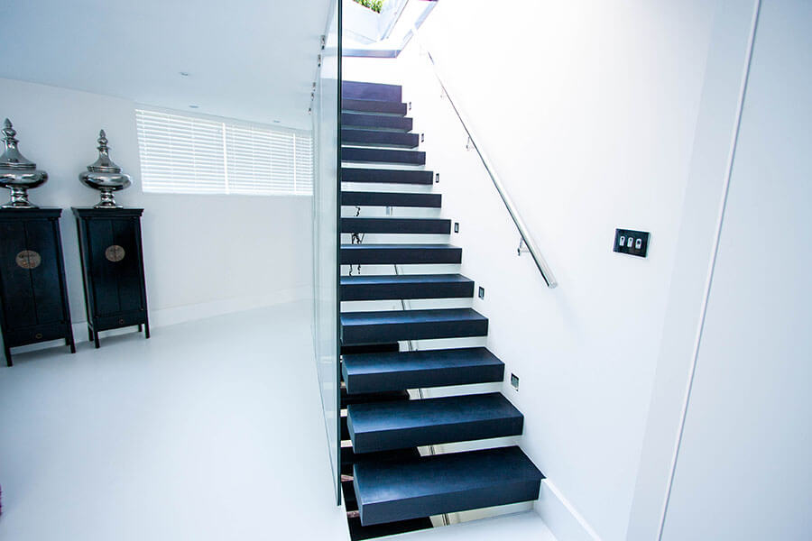 Modern Floating Stairs Black Treds